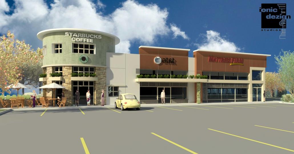 Four Square retail development architectural rendering