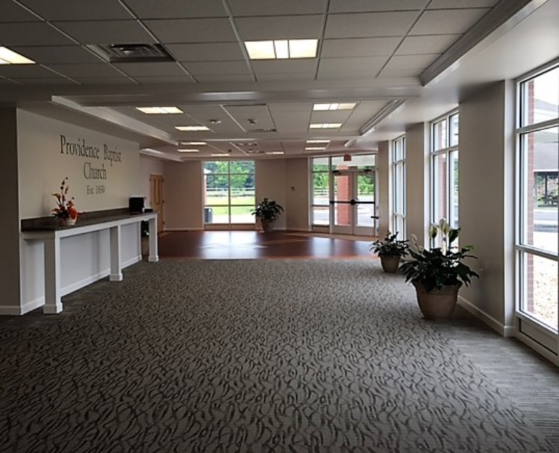 Providence Baptist Church commons looking toward drop-off