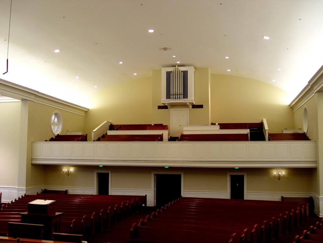 Second Baptist Church congregation room, organ design detail